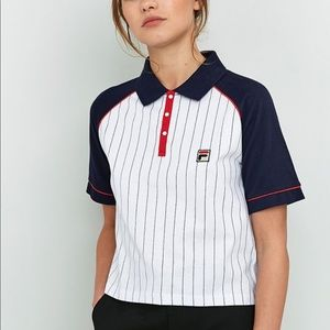 Fila cropped pinstripe polo- UK urban outfitters